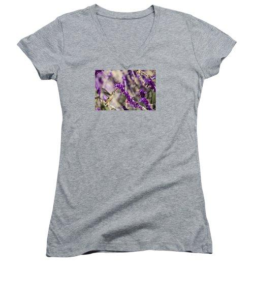 Hummingbird Collecting Nectar Women's V-Neck T-Shirt (Junior Cut) by David Millenheft