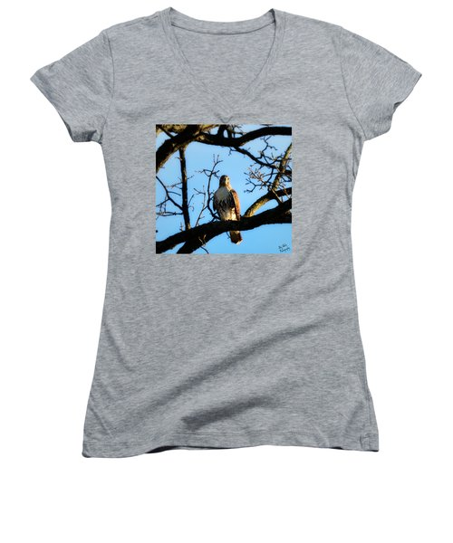 Women's V-Neck T-Shirt (Junior Cut) featuring the photograph Hungry by Ally  White