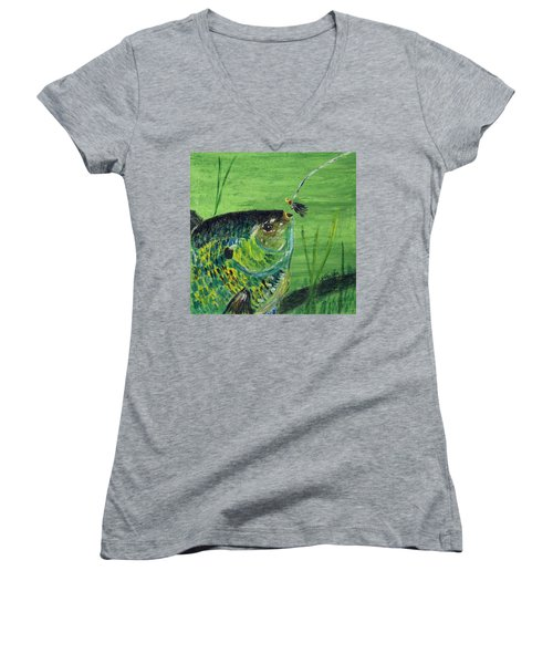 Hungry Bluegill Women's V-Neck T-Shirt
