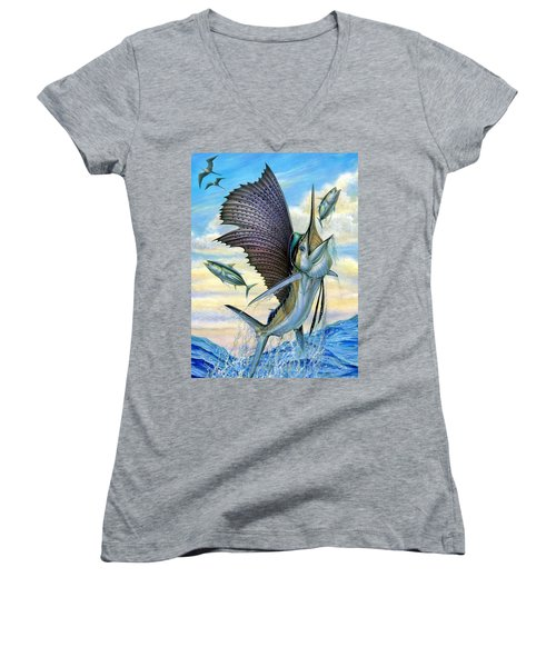 Hunting Of Small Tunas Women's V-Neck