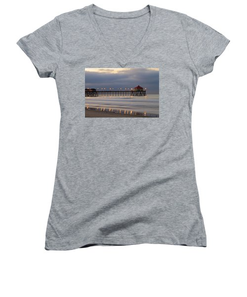 Huntington Beach Pier Morning Lights Women's V-Neck T-Shirt