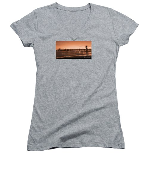 Huntington Beach Pier - Twilight Sepia Women's V-Neck T-Shirt