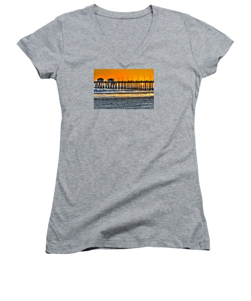 Huntington Beach Sunset Women's V-Neck T-Shirt