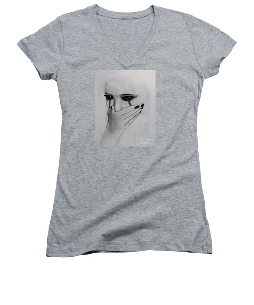 Women's V-Neck T-Shirt (Junior Cut) featuring the drawing Hurt by Michael Cross