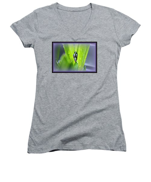 Women's V-Neck T-Shirt (Junior Cut) featuring the photograph Hyacinth For Micah by Katie Wing Vigil