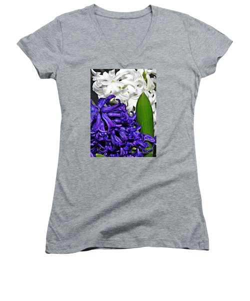 Hyacinths Women's V-Neck T-Shirt (Junior Cut) by Sarah Loft