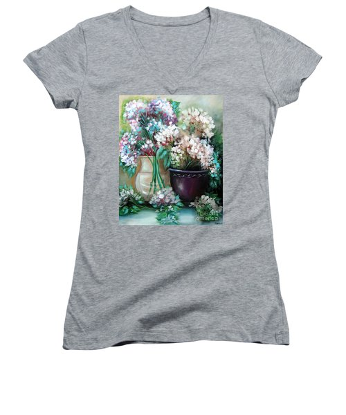 Women's V-Neck T-Shirt (Junior Cut) featuring the painting Hydrangea Melody by Patrice Torrillo