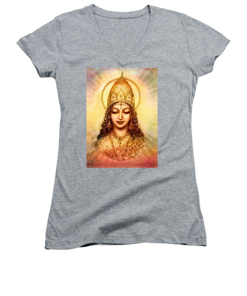 I Abide In My Own Blissful Self Women's V-Neck T-Shirt (Junior Cut) by Ananda Vdovic
