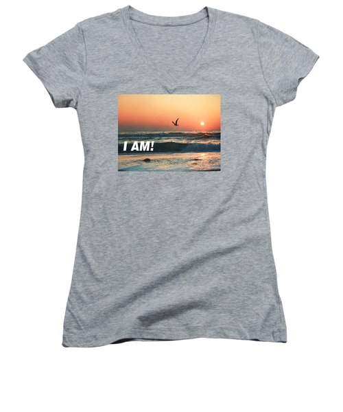 The Great I Am  Women's V-Neck T-Shirt (Junior Cut) by Belinda Lee
