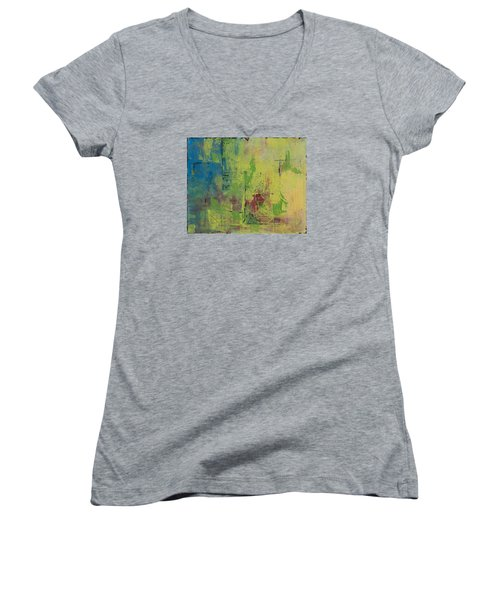 Curious Yellow Women's V-Neck T-Shirt (Junior Cut) by Lee Beuther
