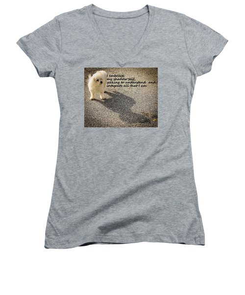 I Embrace Women's V-Neck T-Shirt (Junior Cut) by Patrice Zinck