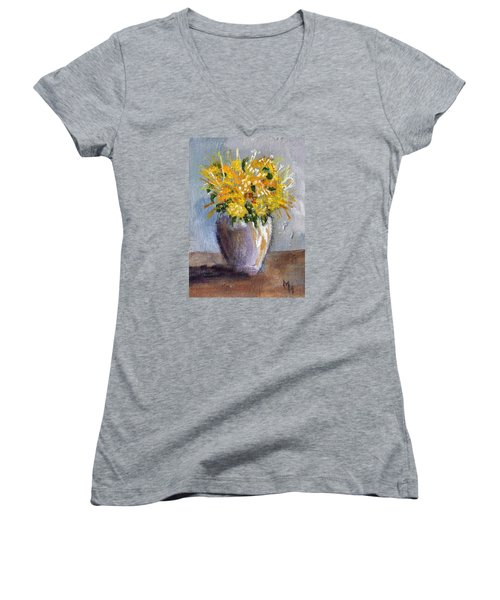 Women's V-Neck T-Shirt (Junior Cut) featuring the painting I Think Of Spring by Michael Helfen