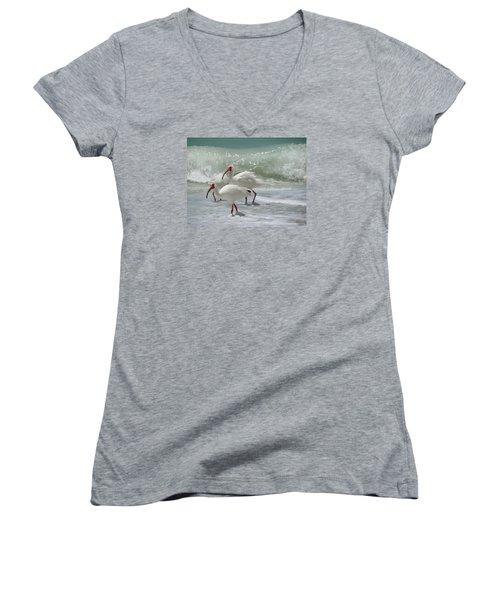Women's V-Neck T-Shirt (Junior Cut) featuring the pastel Ibis Pair by Melinda Saminski
