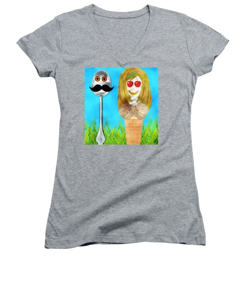 Women's V-Neck T-Shirt (Junior Cut) featuring the digital art Ice Cream Couple by Ally  White