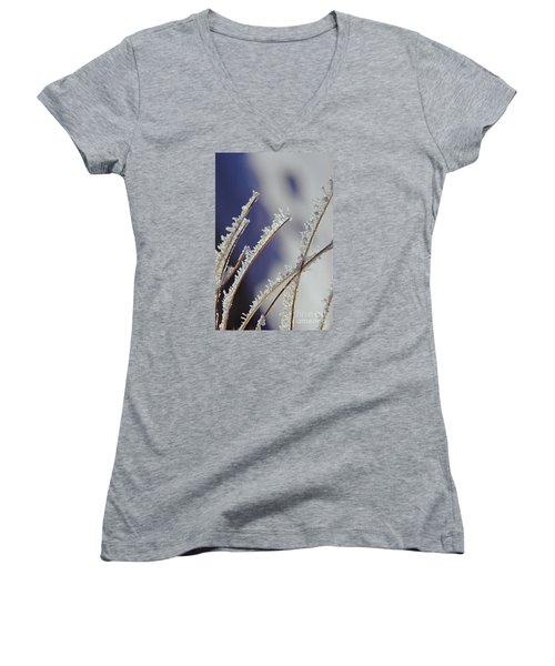 Women's V-Neck T-Shirt (Junior Cut) featuring the photograph Ice Crystals On Fireweed Fairbanks  Alaska By Pat Hathaway 1969 by California Views Mr Pat Hathaway Archives
