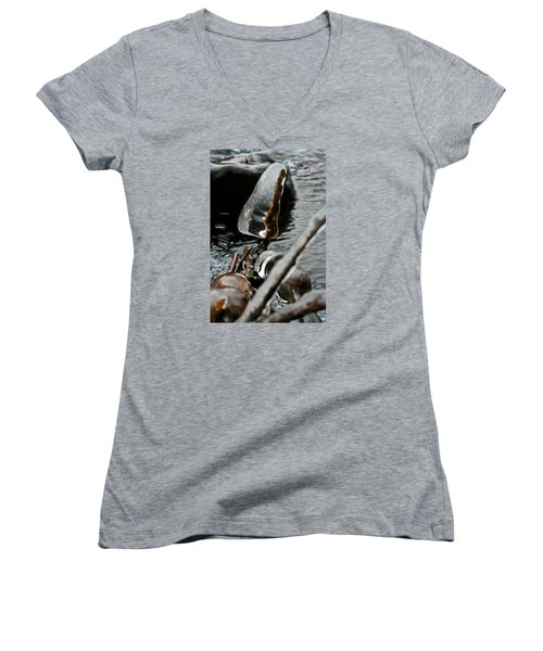Women's V-Neck T-Shirt (Junior Cut) featuring the photograph ICE by Joel Loftus
