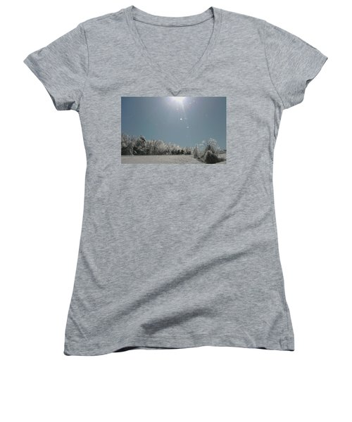 Women's V-Neck T-Shirt (Junior Cut) featuring the photograph Ice Kissed by Ellen Levinson