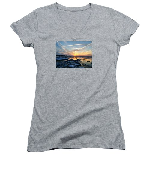 Ice On The Delaware River Women's V-Neck T-Shirt (Junior Cut) by Ed Sweeney