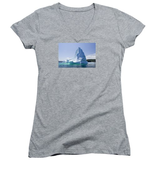 Women's V-Neck T-Shirt (Junior Cut) featuring the photograph Iceberg Canada by Liz Leyden