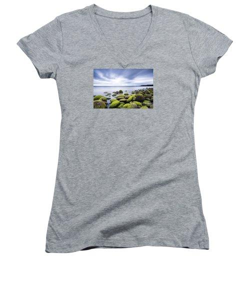 Iceland Tranquility 3 Women's V-Neck T-Shirt (Junior Cut) by Gunnar Orn Arnason