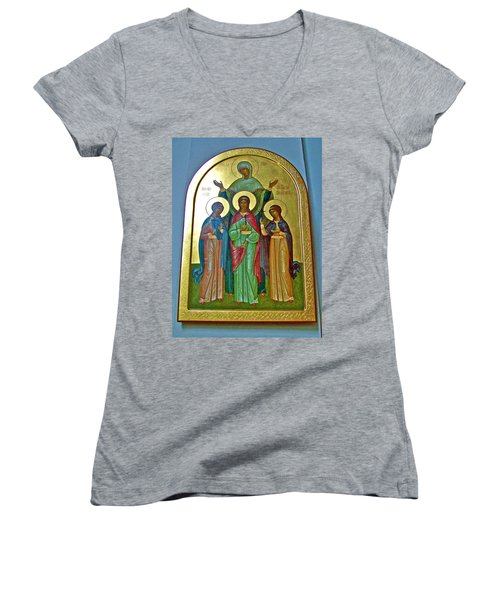 Icon Inside Chesme Church Built By Catherine The Great In Saint  Petersburg-russia Women's V-Neck T-Shirt