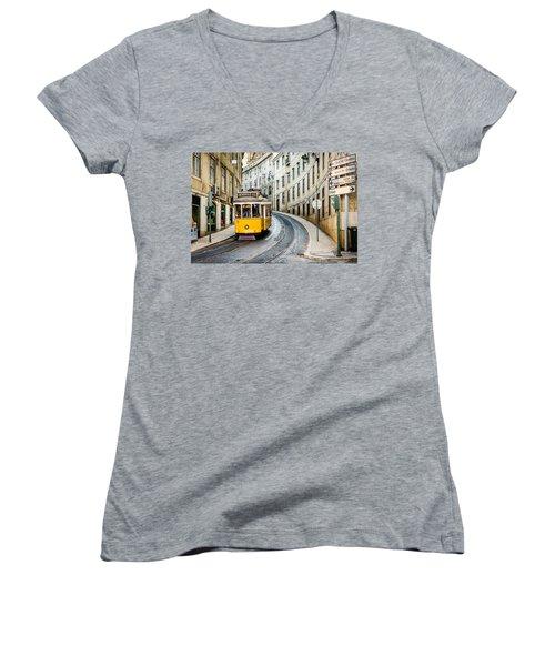 Iconic Lisbon Streetcar No. 28 IIi Women's V-Neck T-Shirt