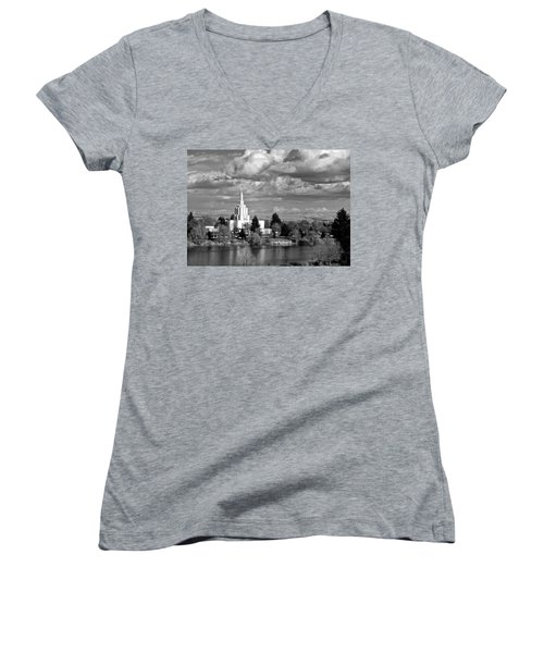 Idaho Falls Temple Women's V-Neck T-Shirt (Junior Cut) by Eric Tressler