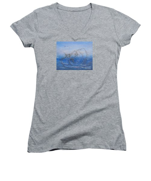 Women's V-Neck T-Shirt (Junior Cut) featuring the painting If I Could Tell You by Jane  See