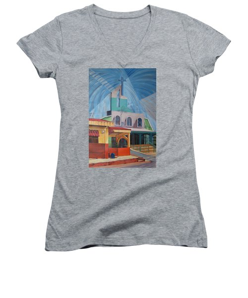 Iglesia San Rafael  Costa Rica Women's V-Neck T-Shirt (Junior Cut)