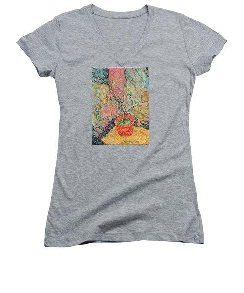 Ikebana Women's V-Neck T-Shirt (Junior Cut) by Anna Yurasovsky
