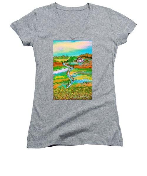 Women's V-Neck T-Shirt (Junior Cut) featuring the painting  Tuscan Countryside by Loredana Messina