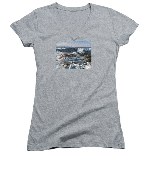 Women's V-Neck T-Shirt (Junior Cut) featuring the painting I'll Have A Water On The Rocks Please by Michael Helfen