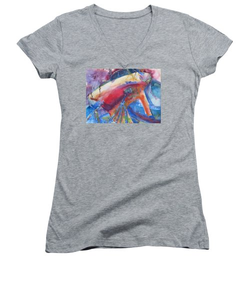 Ilwaco Parti-color Women's V-Neck T-Shirt
