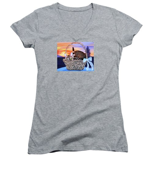 Women's V-Neck T-Shirt (Junior Cut) featuring the painting I'm Hiding   Oil Painting by Phyllis Kaltenbach