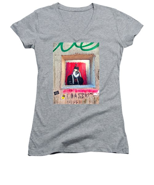 Women's V-Neck T-Shirt (Junior Cut) featuring the photograph I'm Thinking by Joan Reese