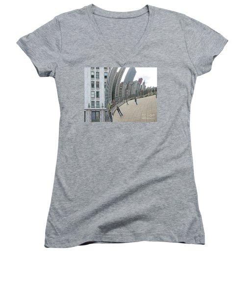 Women's V-Neck T-Shirt (Junior Cut) featuring the photograph Imaging Chicago by Ann Horn