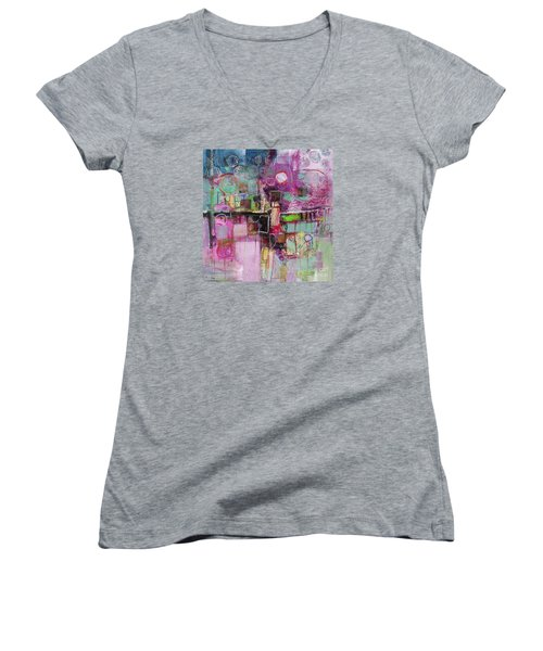 Women's V-Neck T-Shirt (Junior Cut) featuring the painting Impromptu by Michelle Abrams