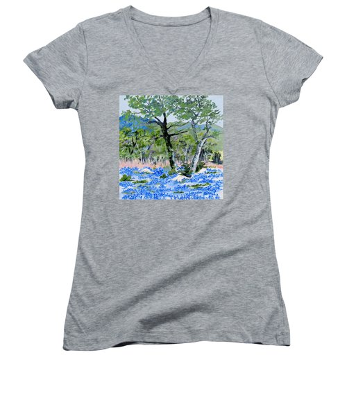 In April-texas Bluebonnets Women's V-Neck (Athletic Fit)