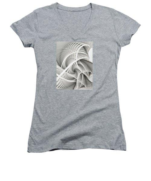 In Betweens-white Fractal Spiral Women's V-Neck T-Shirt (Junior Cut) by Karin Kuhlmann