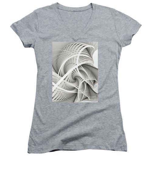 In Betweens-white Fractal Spiral Women's V-Neck