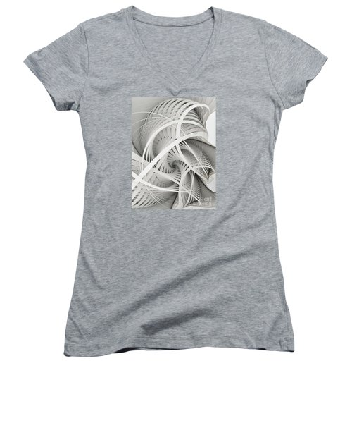 In Betweens-white Fractal Spiral Women's V-Neck T-Shirt