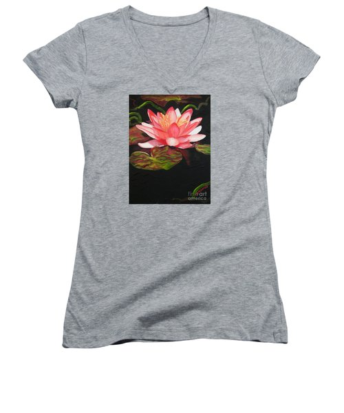 Women's V-Neck T-Shirt (Junior Cut) featuring the painting In Full Bloom by Janet McDonald