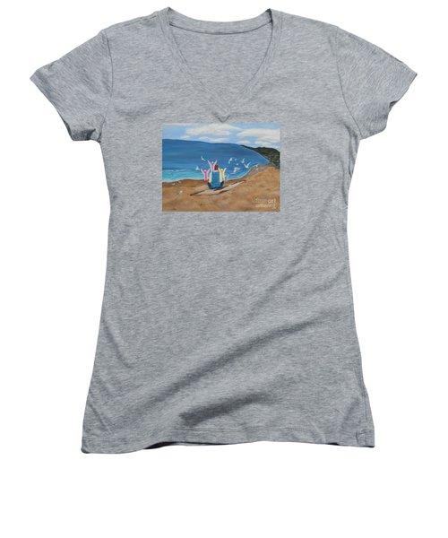 Women's V-Neck T-Shirt (Junior Cut) featuring the painting In Meditation by Cheryl Bailey