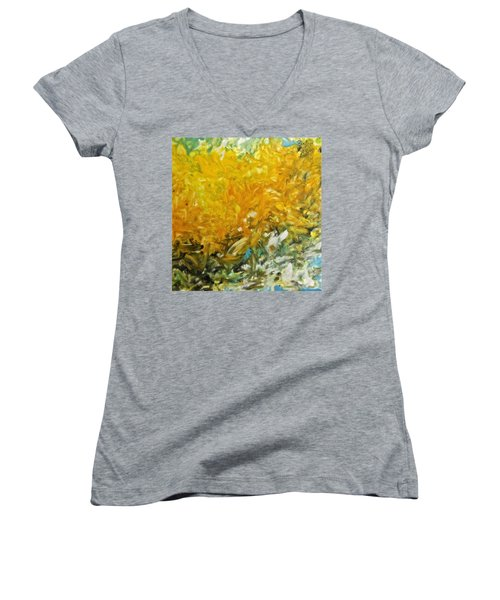 Women's V-Neck T-Shirt (Junior Cut) featuring the painting In My Magic Garden by Joan Reese