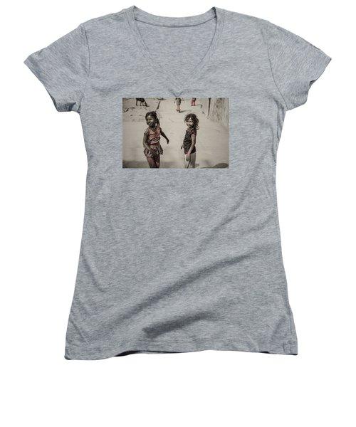 In Omkareshwar Women's V-Neck T-Shirt (Junior Cut) by Valerie Rosen