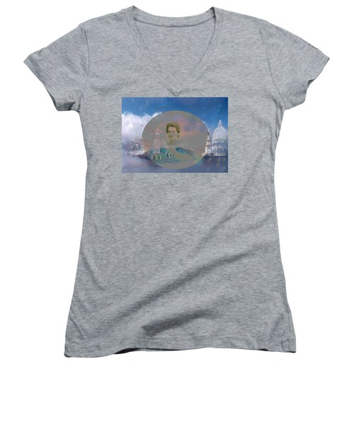 Women's V-Neck T-Shirt (Junior Cut) featuring the digital art In The Air by Cathy Anderson