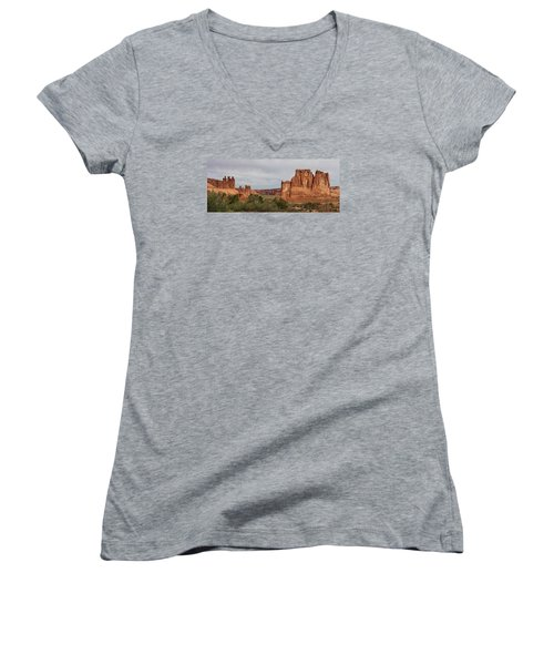 Women's V-Neck T-Shirt (Junior Cut) featuring the photograph In The Canyon by Bruce Bley