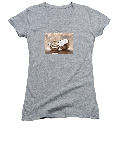 In The Coconut Women's V-Neck T-Shirt (Junior Cut) by Veronica Minozzi
