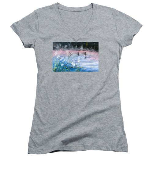 Women's V-Neck T-Shirt (Junior Cut) featuring the painting In The Dusk by Melly Terpening