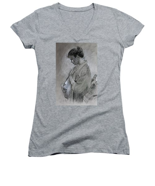 Women's V-Neck T-Shirt (Junior Cut) featuring the drawing In The Family Way by Viola El